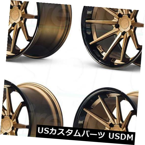 最大80%オフ! 海外輸入ホイール 20x9フェラーダFR4 5x114.3 25マットブロンズブラックリップホイールリムセット(4) 20x9 Ferrada FR4 5x114.3 25 Matte Bronze Black Lip Wheels Rims Set(4), MuCCha(ムッチャ) 57160bf6