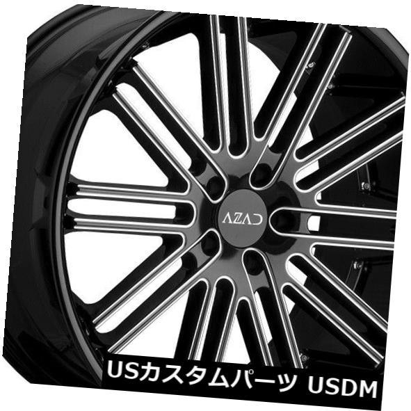 【大特価!!】 海外輸入ホイール 22x9 Azad Milled AZ22 AZ22 5x112 35 35ブラックミルドホイールリムセット(4) 22x9 Azad AZ22 5x112 35 Black Milled Wheels Rims Set(4), 日本橋 古樹軒:e869d5be --- dibranet.com