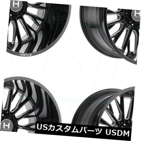 正規品販売! 海外輸入ホイール/ 20x12敵対的なH114フューリー8x6.5/ 8x165.1 -44ブラックミルドホイールリムセット(4) 20x12 Hostile Wheels Hostile H114 Fury 8x6.5/8x165.1 -44 Black Milled Wheels Rims Set(4), ノースウェブ【ダイエット通販】:eb7188aa --- greencard.progsite.com