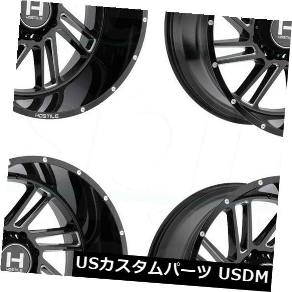 数量限定価格!! 海外輸入ホイール 20x12敵対的なH110ストライカー8x6.5 / 8x165.1 -44ブラックミルドホイールリムセット(4) 20x12 Hostile H110 Stryker 8x6.5/8x165.1 -44 Black Milled Wheels Rims Set(4), Import Fan c4e080da