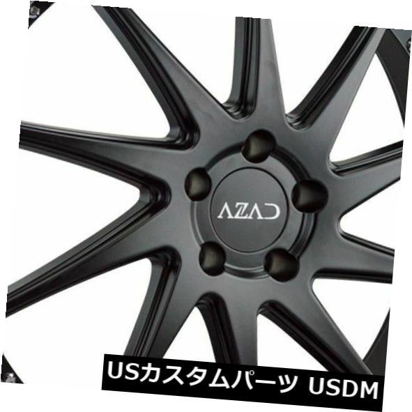 海外輸入ホイール 22x9 Azad AZ23 5x120 30ブラッククロームリップホイールリムセット(4) 22x9 Azad AZ23 5x120 30 Black Chrome Lip Wheels Rims Set(4)