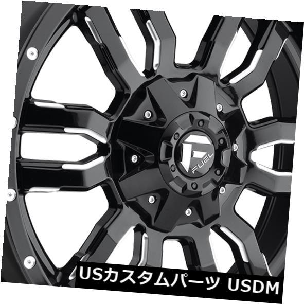 海外輸入ホイール 20x7 ET13燃料D595スレッジ4x136ブラックミルドリム(4個セット) 20x7 ET13 Fuel D595 Sledge 4x136 Black Milled Rims (Set of 4)