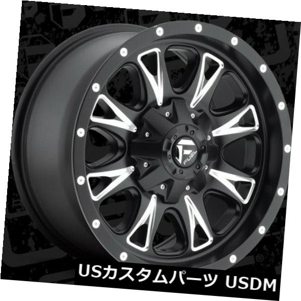 海外輸入ホイール 18x9 ET20 Fuel D513スロットル5x139.7 / 5x150ブラックミルドホイール(4個セット) 18x9 ET20 Fuel D513 Throttle 5x139.7/5x150 Black Milled Wheels (Set of 4)