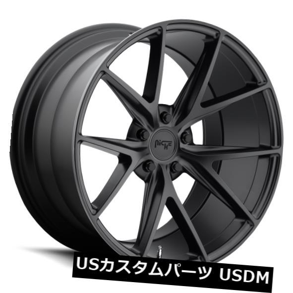 海外輸入ホイール 18x8 ET40ニッチM117ミサノ5x115マットブラックホイール(4個セット) 18x8 ET40 Niche M117 Misano 5x115 Matte Black Wheels (Set of 4)