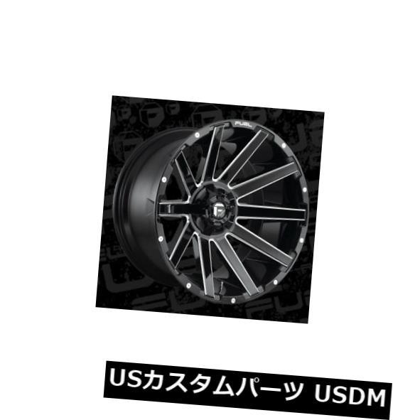 開店祝い 海外輸入ホイール 22x12 Fuel D615 Contra 8x170 ET-44 Black & Milled Rims (Set of 4), シュクラン 70ce0b9e