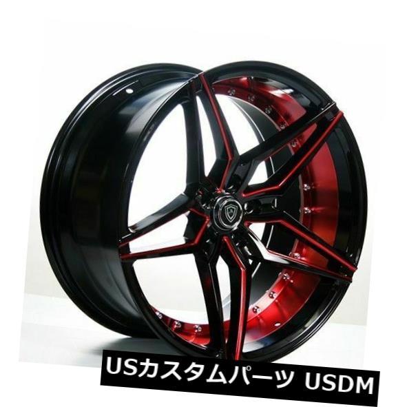 """海外輸入ホイール 20 """"""""スタッガードマーキーホイール3259ブラックレッドインナーリムフィットクライスラー300 20"""""""" Staggered Marquee Wheels 3259 Black Red Inner Rims fit Chrysler 300"""