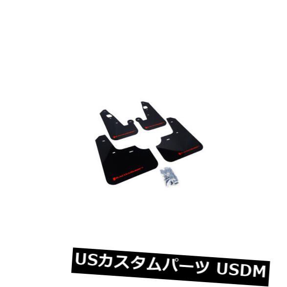 マッドガード 泥除け ラリーアーマーブラックマッドフラップ2007-2017用レッドロゴ入り三菱ランサー4ドア Rally Armor Black Mud Flaps w/ Red Logo for 2007-2017 Mitsubishi Lancer 4-door
