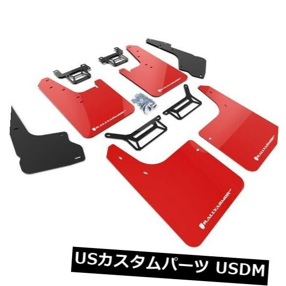 マッドガード 泥除け トヨタ2012-2019 4ランナーレッドwホワイトロゴ用ラリーアーマーマッドフラップ Rally Armor Mud Flaps For Toyota 2012-2019 4Runner Red w White Logo