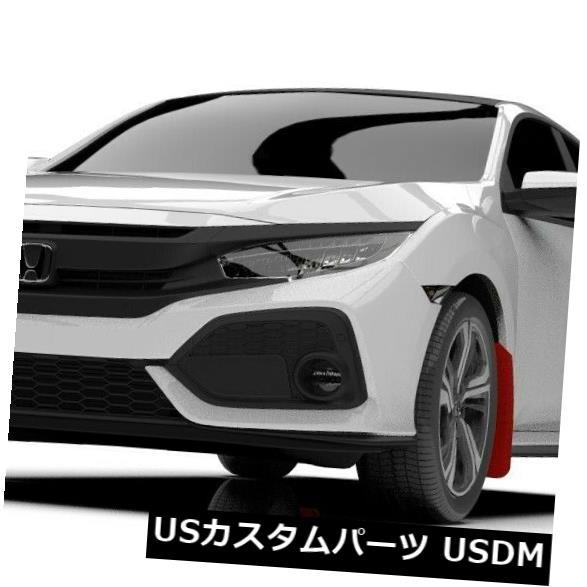 マッドガード 泥除け ホンダ17-19シビックスポーツツーリングハッチレッドwホワイトロゴ用ラリーアーマーマッドフラップ Rally Armor Mud Flaps For Honda 17-19 Civic Sport Touring Hatch Red w White Logo