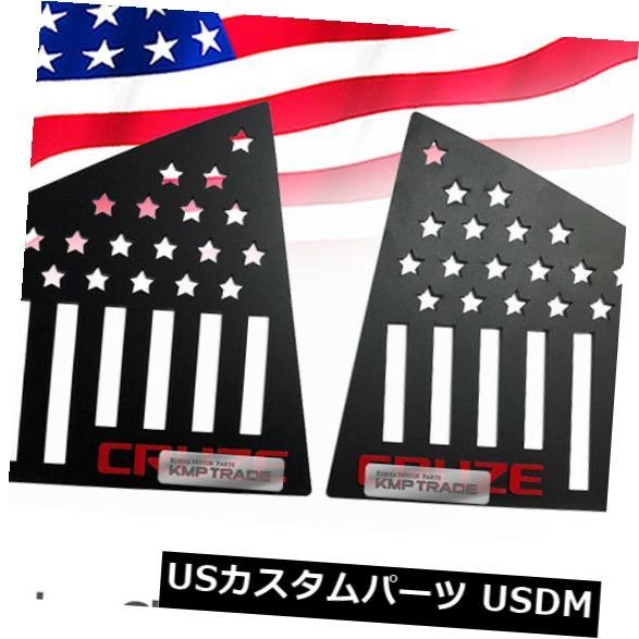 ドアピラー CHEVY 2008-16 Cruze 4drのCピラーウィンドウスポーツプレートレッドロゴアメリカ国旗 C Pillar Window Sports Plate Red Logo American Flag for CHEVY 2008-16 Cruze 4dr