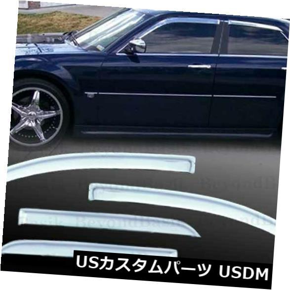 ドアピラー 2005年2006年2007年2008年2009年2010年クライスラー300クロームドアベントバイザーレインガード For 2005 2006 2007 2008 2009 2010 Chrysler 300 Chrome Door Vent Visor Rain Guard