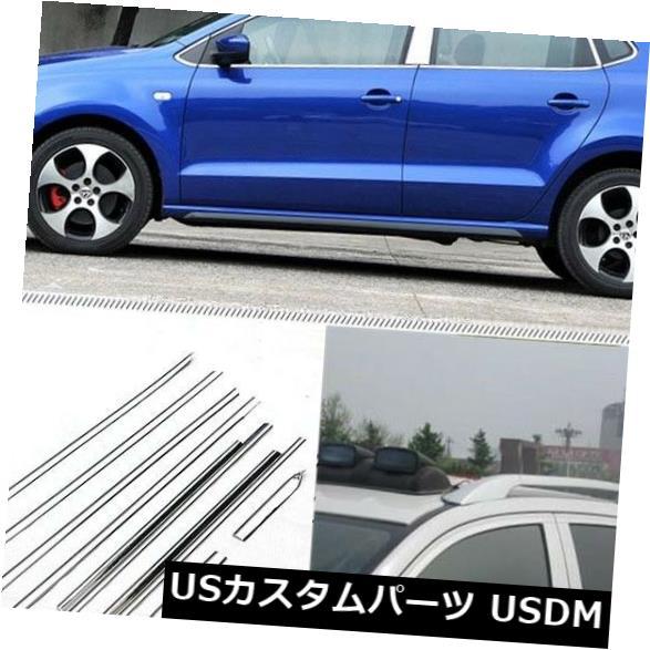 ドアピラー VW Polo用センターピラー付きフルウィンドウズ成形トリム装飾ストリップ Full Windows Molding Trim Decoration Strips w/ Center Pillar For VW Polo