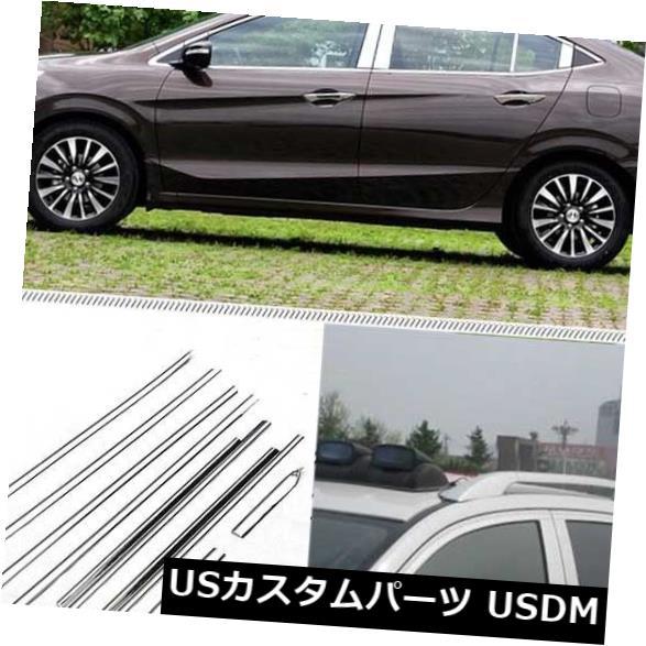 ドアピラー Honda Crider用センターピラー付きフルウィンドウズ成形トリム装飾ストリップ Full Windows Molding Trim Decoration Strips w/ Center Pillar For Honda Crider