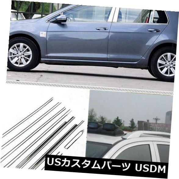 ドアピラー フルウィンドウズ成形トリム装飾ストリップ(ワットゴルフ7用センターピラー付き) Full Windows Molding Trim Decoration Strips w/ Center Pillar For VW Golf 7