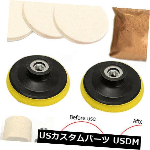 Glass Polishing Kit Scratch Removal Set 34 Pcs Deep Scratch Remover Ceric Dioxide Abrasive Discs Polish Pad Felt for Windscreen and Glass