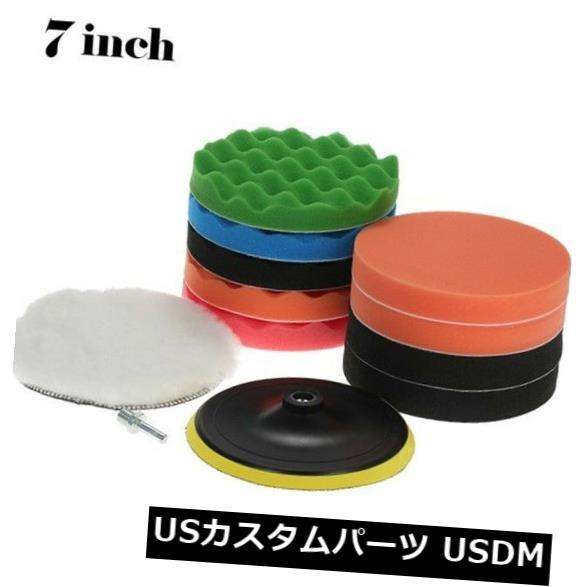 USメッキパーツ 11PCS 7インチ研磨ワッフルフォームパッド+カットフォームパッドポリッシャーバッファーツールキット 11PCS 7 inch Polishing Waffle Foam Pad + Cut Foam Pad Polisher Buffer Tool Kit