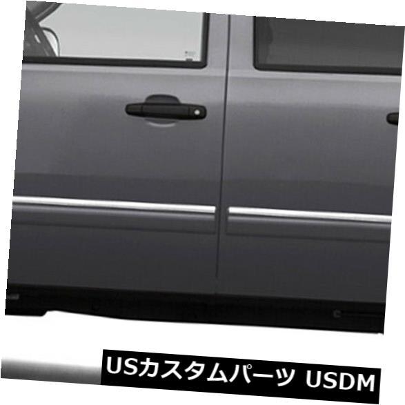 USメッキパーツ 09-14シェビーシルバラードHDクルー用サイドモールディングトリム(ステンレス4pcアッパーアクセント) Side Molding Trim for 09-14 Chevy Silverado HD Crew (Stainless 4pc Upper Accent)