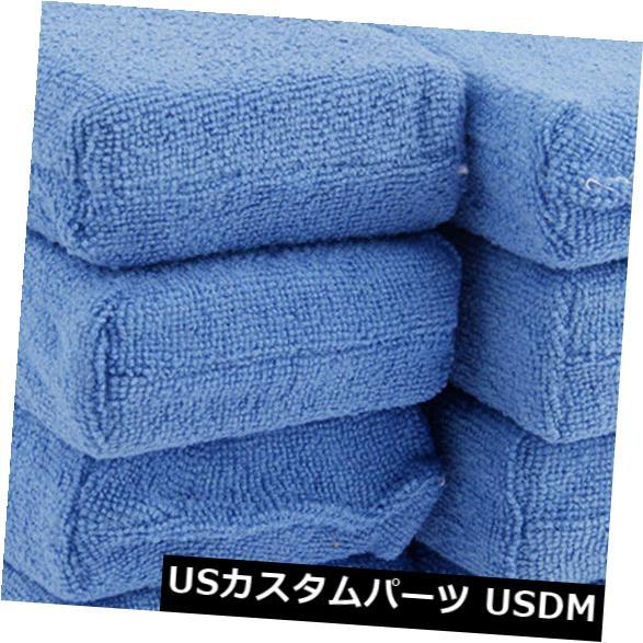 USメッキパーツ 8個のブルーマイクロファイバーアプリケータースポンジパッドカーウォッシュワックスポリッシュケアディテール 8Pcs Blue Microfiber Applicator Sponge Pads Car Wash Wax Polish Care Detailing