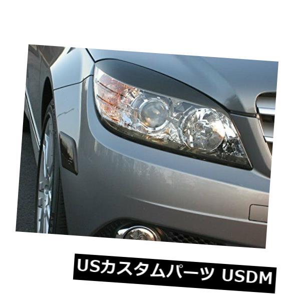 アイライン メルセデスC300 C350 Cクラススモークヘッドライトまぶたオーバーレイ色付きフィルムシェード Mercedes C300 C350 C-Class Smoke Head Light Eyelid Overlays Tinted Film Shades