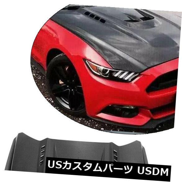 カーボン素材 カーボンファイバーカーエンジンフードスクープブラックは、フォードマスタング2ドア2015-2017に適合 Carbon Fiber Car Engine Hood Scoop Black Fit for Ford Mustang 2-Door 2015-2017