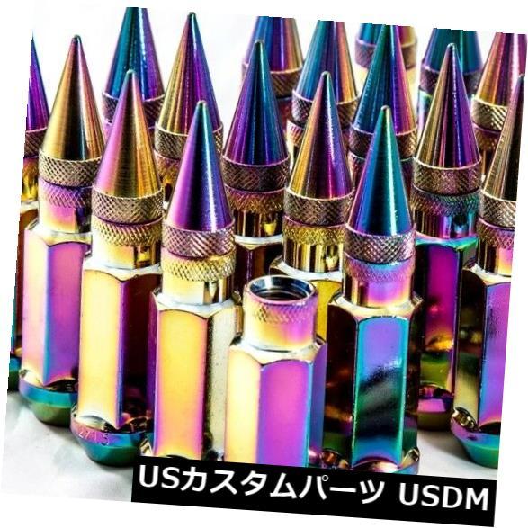 AodHan XT92 12X1.25 Cold Steel Spiked Lug Nuts 92mm Blue Set of 20pc w//Key