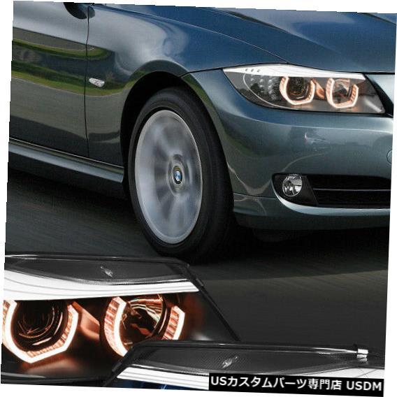 ヘッドライト Fits 2006-2008 BMW E90 <DUAL ADJUSTABLE RGB LED HALO> Black Projector Headlight