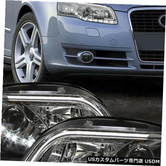 ヘッドライト Fits 2005-2008 Audi S4/A4 B7 <LED DRL/SIGNAL> Chrome/Smoke Projector Headlight
