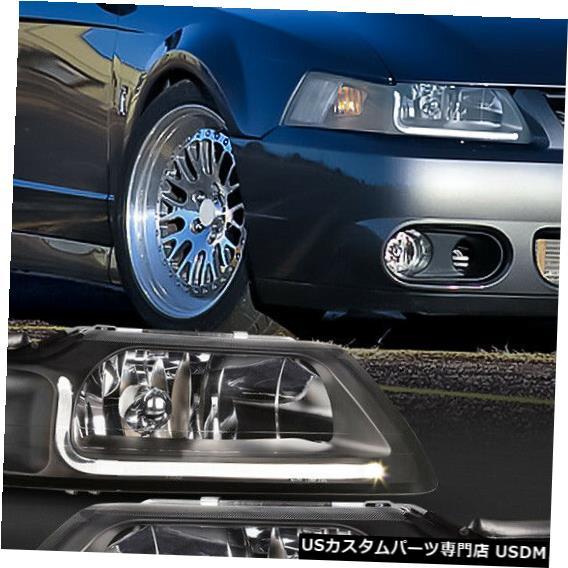 ヘッドライト Fits 1999-2004 Ford Mustang <LED L-BAR DRL> Black/Clear Corner Headlight Lamp