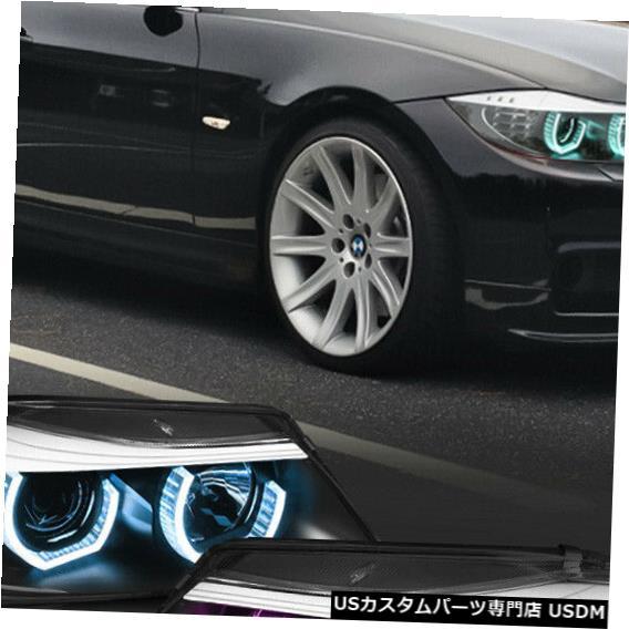 ヘッドライト Fits 2009-2012 BMW E90 <DUAL ADJUSTABLE RGB LED HALO> Black Projector Headlight