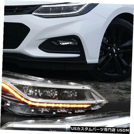 ヘッドライト Fits 16-19 Chevy Cruze <LED DRL+SEQUENTIAL SIGNAL> Black Projector HID Headlight