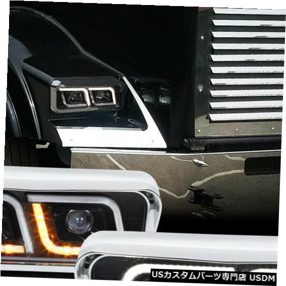 ヘッドライト Fits 1981-2019 Western Star FLD120SD <DUAL LED L-BAR> Black Projector Headlight