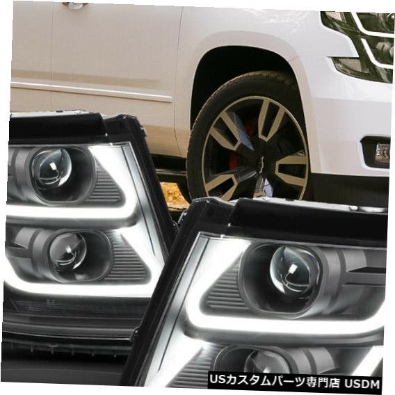車用品 バイク用品 >> パーツ ライト ランプ 美品 ヘッドライト Fits 2015-2020 Suburban DRL> U-BAR Tahoe Clear Black 品質検査済 Headlight <LED Projector 3D