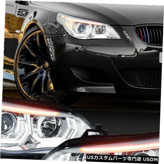 ヘッドライト Fits 2004-2007 BMW E60 <DUAL 3D HALO/LED SIGNAL/DRL> Chrome Projector Headlight