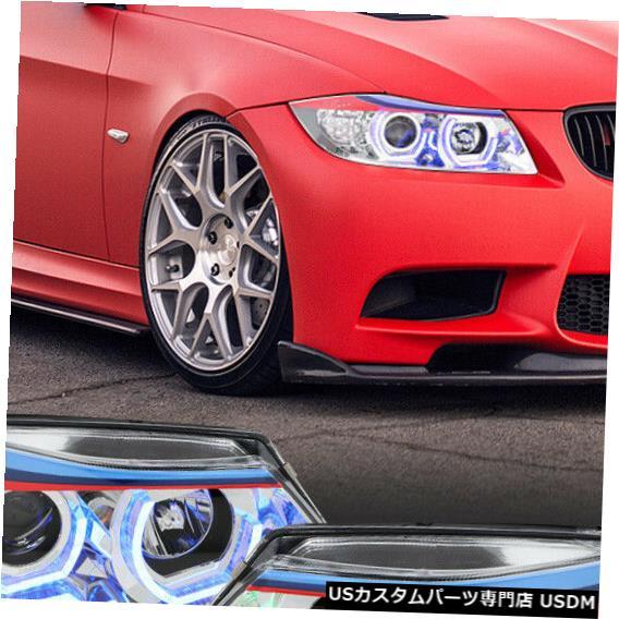 ヘッドライト Fits 2006-2008 BMW E90<DUAL RGB LED HALO>Chrome M-Sport Projector Headlight Lamp