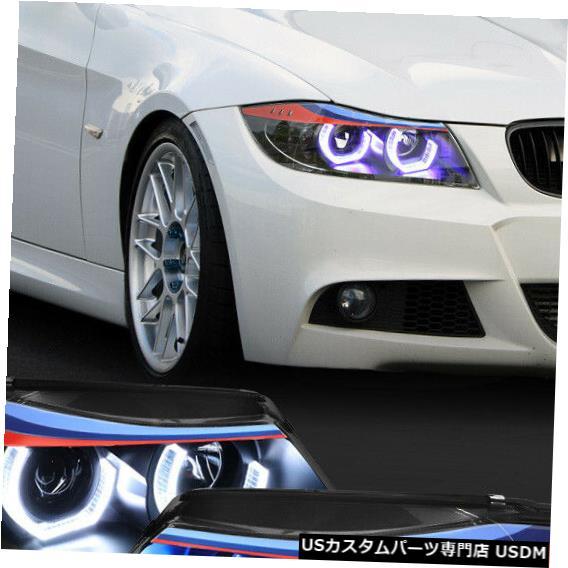 ヘッドライト Fits 2009-2012 BMW E90<DUAL RGB LED HALO>Black M-Sport Projector Headlight Lamp