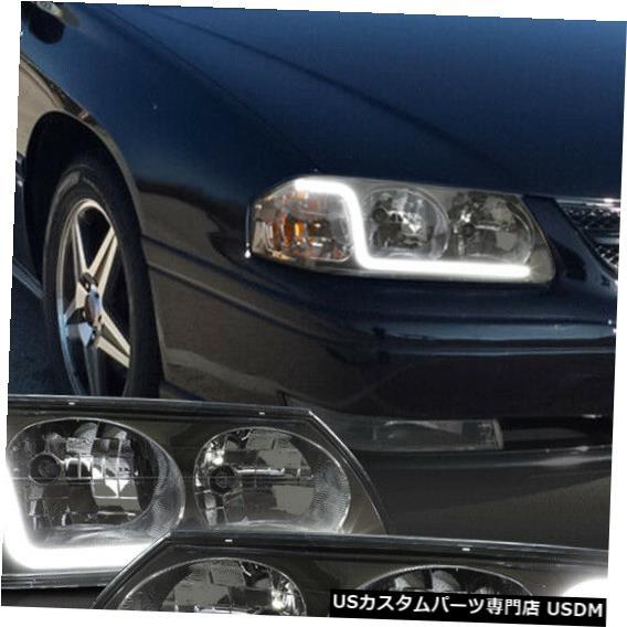 ヘッドライト Fits 2000-2005 Chevy Impala<LED BAR DRL>Chrome/Smoke Clear Corner Headlight Lamp