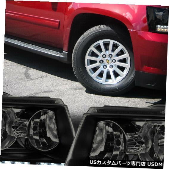 ヘッドライト Fits 2007-2014 Suburban/Tahoe<LED DRL/SIGNAL>Black/Smoke Clear Corner Headlight