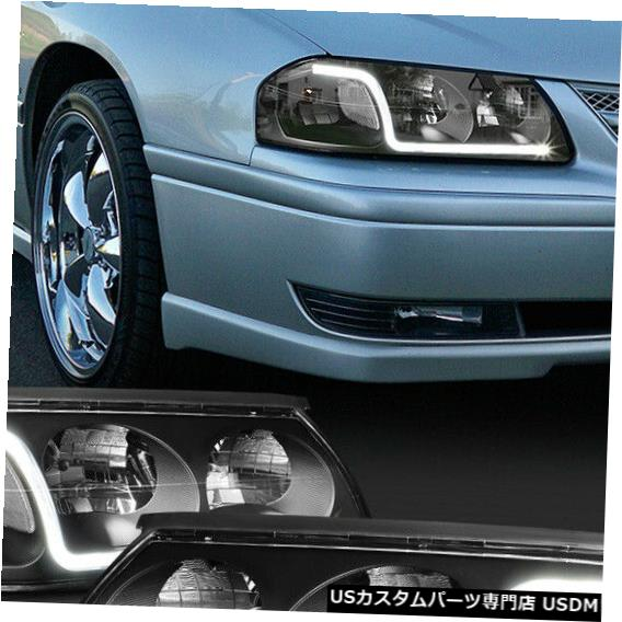 ヘッドライト Fits 2000-2005 Chevy Impala<LED BAR DRL>Black/Clear Signal Corner Headlight Lamp