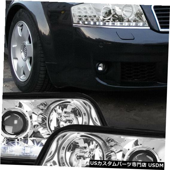 ヘッドライト Fits 2002-2004 Audi A6 C5 <LED DRL/SIGNAL> Chrome/Clear Projector Headlight Lamp