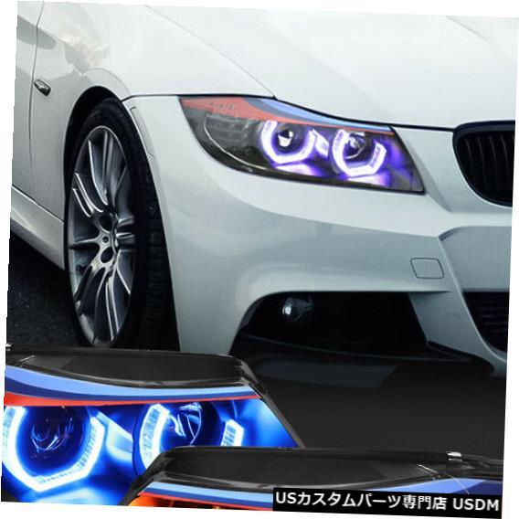 ヘッドライト Fits 2006-2008 BMW E90<DUAL RGB LED HALO>Black M-Sport Projector Headlight Lamp