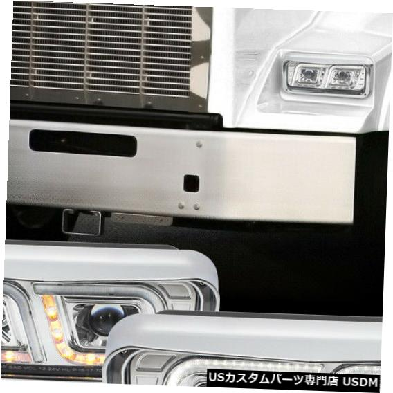 ヘッドライト Fits 1981-2019 Western Star FLD120SD <DUAL LED L-BAR> Chrome Projector Headlight