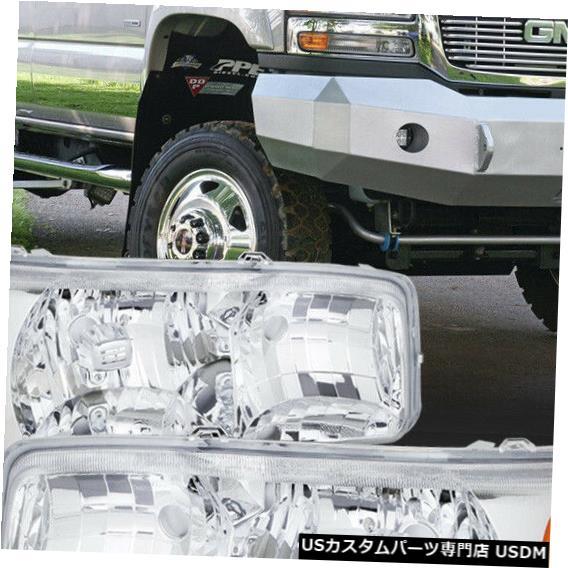 ヘッドライト 適合1999-2007 Sierra / Yukon [Chrome / Clear]アンバーコーナーヘッドライトヘッドランプランプ Fits 1999-2007 Sierra/Yukon [Chrome/Clear] Amber Corner Headlight Headlamp Lamp