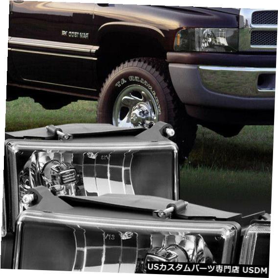 ヘッドライト 1994-2002ダッジラムに適合[ブラック/クリア]アンバーコーナー4PCヘッドライトヘッドランプランプ Fits 1994-2002 Dodge Ram [Black/Clear] Amber Corner 4PC Headlight Headlamp Lamp