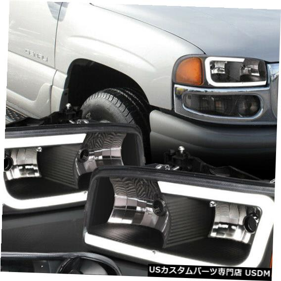 ヘッドライト Fits 2001-2007 Sierra/Yukon Denali<LED C-BAR>Black/Clear/Amber Headlight+Bumper