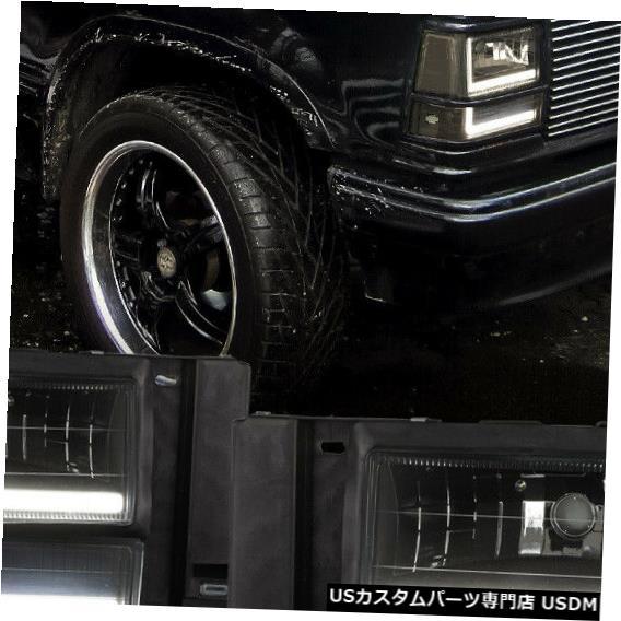 ヘッドライト Fits 1991-1994 Ford Explorer<DUAL LED L-BAR>Black/Smoke Headlight+Bumper+Corner