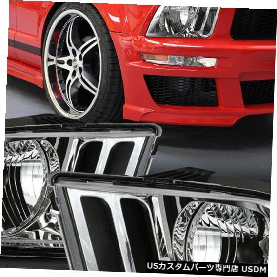 ヘッドライト 適合2005-2009フォードマスタングS197ポニー[クローム/クリア] L + Rヘッドライトヘッドランプランプ Fits 2005-2009 Ford Mustang S197 Pony [Chrome/Clear] L+R Headlight Headlamp Lamp