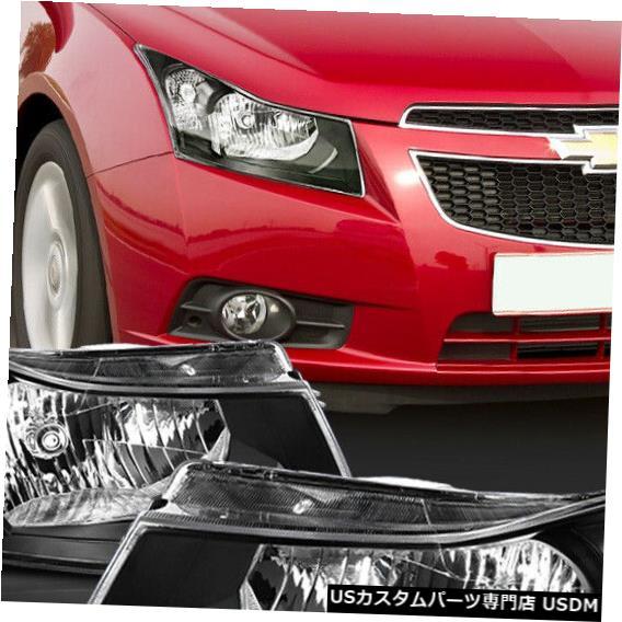 ヘッドライト 適合2011-2015 Chevy Cruze [ブラック/クリア]クリスタルコーナーヘッドライトヘッドランプランプ Fits 2011-2015 Chevy Cruze [Black/Clear] Crystal Corner Headlight Headlamp Lamp