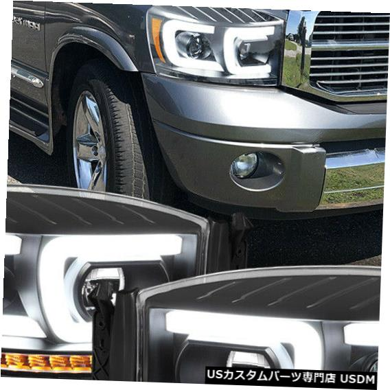Fits C-BAR/SEQUENTIAL> Ram Black/Amber <DUAL Headlight ヘッドライト 2006-2009 LED Projector