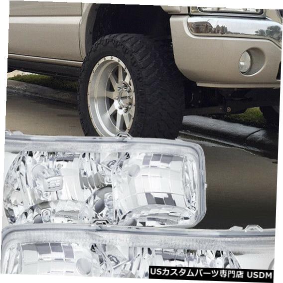 ヘッドライト 1999-2007 GMCシエラ/ユーコンに適合[クローム/クリア]クリスタルコーナーヘッドライトヘッドランプ Fits 1999-2007 GMC Sierra/Yukon [Chrome/Clear] Crystal Corner Headlight Headlamp