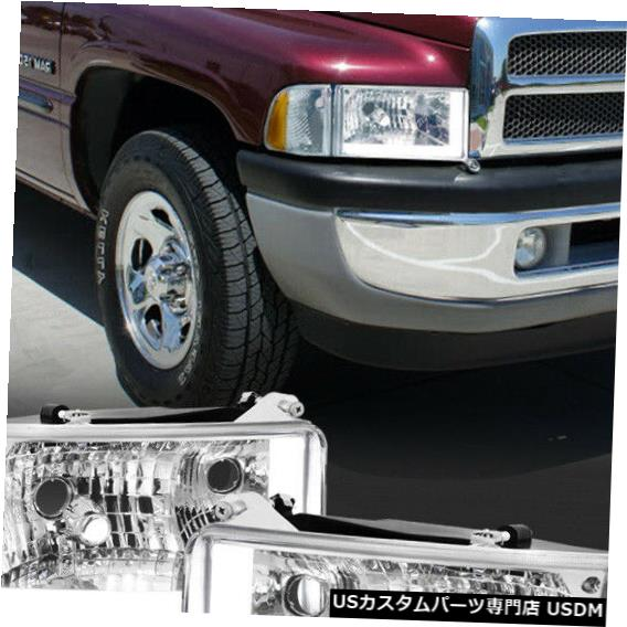 ヘッドライト Fits 1994-2002 Dodge Ram 1500/2500 <LED L-BAR DRL> Chrome Headlight+Amber Corner